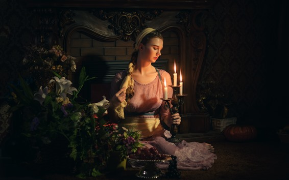 Fondos de pantalla Chica de estilo retro, velas, llama, fuego, flores, oscuro.
