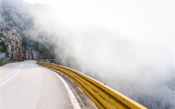 Fondos de pantalla Camino, montaña, niebla