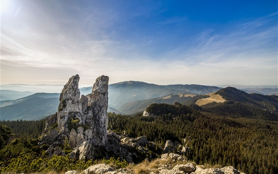 Fondos de pantalla Rocas, montañas, bosque, cielo azul, Rumania