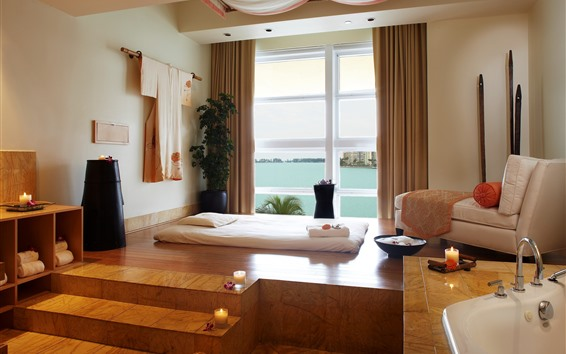 Fondos de pantalla Habitación, muebles, cama, sofá, ventana, escaleras