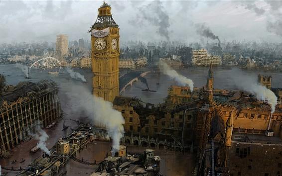 Papéis de Parede Ruínas, cidade, Londres, Big Ben, fumaça, imagem de arte