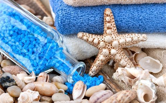 Fondos de pantalla SPA tema, estrellas de mar, sal de baño, conchas, toalla