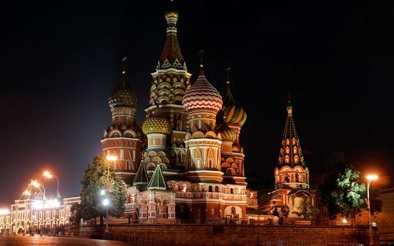 Papéis de Parede São Petersburgo, Rússia, igreja, noite, luzes