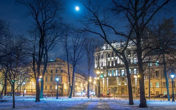 Papéis de Parede São petersburgo, rússia, árvores, neve, edifícios, noite