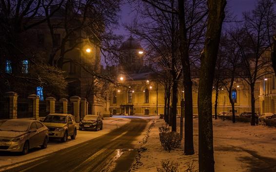Papéis de Parede São Petersburgo, noite, neve, árvores, luzes, estrada, carros, inverno, Rússia