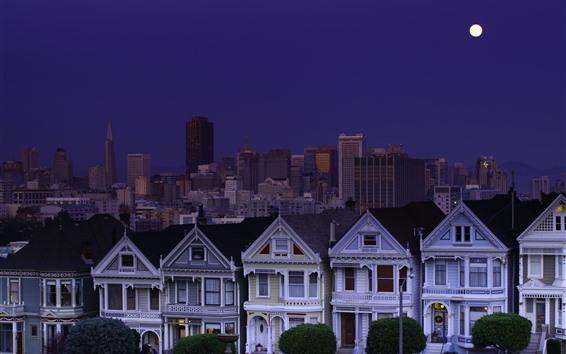 壁紙 サンフランシスコ、アメリカ、都市、夜、家、月