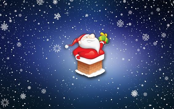Papéis de Parede Papai Noel, presente, flocos de neve, desenhos animados