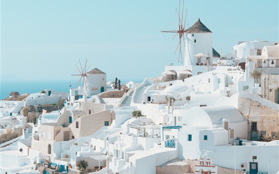 Wallpaper Santorini, Greece, white style houses, city