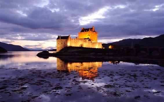 Fondos de pantalla Escocia, castillo, iluminación, lago, noche