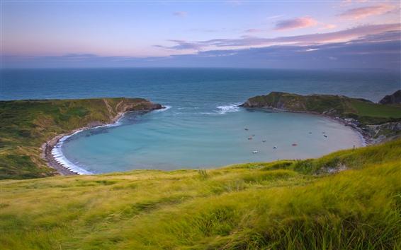 Fond d'écran Mer, baie, herbe, beau paysage de la nature