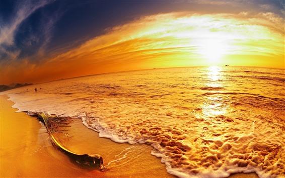 Wallpaper Sea, beach, golden style, sunset
