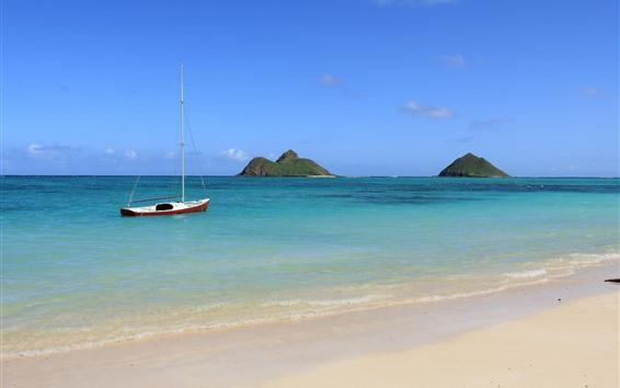 Wallpaper Sea, boat, beach, islands