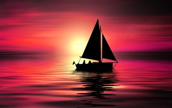 Fondos de pantalla Mar, barco, puesta de sol, imagen creativa.