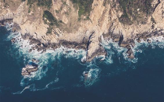 Обои Море, побережье, камни, вид с высоты птичьего полета
