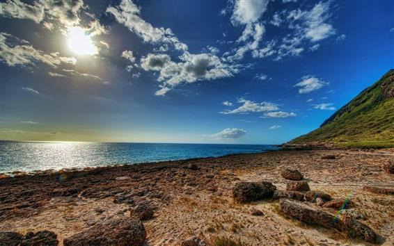 Fondos de pantalla Mar, Costa, piedras, cielo azul, sol