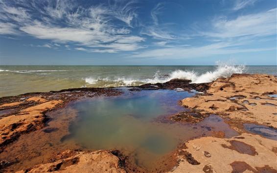 Fondos de pantalla Mar, Costa, salpicadura del agua, paisaje de la naturaleza