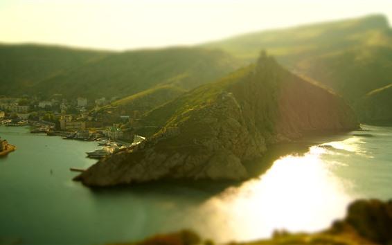 Fondos de pantalla Mar, montañas, Bahía, ciudad, nebulización, niebla