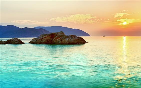 Fondos de pantalla Mar, rocas, barcos, puesta de sol, colores