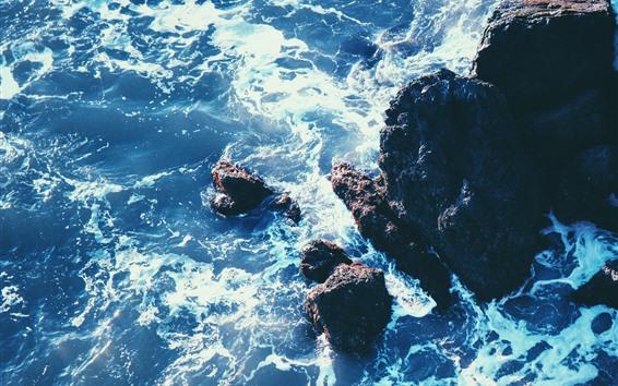 Fond d'écran Mer, roches, récif, vagues, mousse