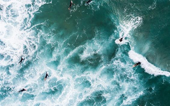 Fondos de pantalla Mar, olas, espuma, surf, vista superior