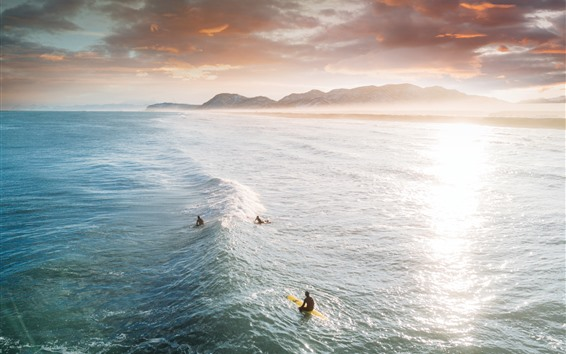 Fondos de pantalla Mar, olas, surf, nubes, amanecer, amanecer.