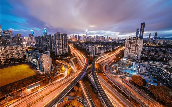 Wallpaper Shenzhen, city, roads, buildings, light lines, China