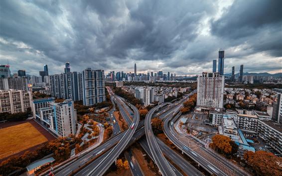 Fondos de pantalla Shenzhen, paisaje urbano, caminos, rascacielos, nubes, atardecer, China