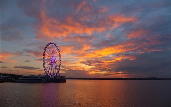 Обои Корабль, колесо обозрения, река, облака, закат