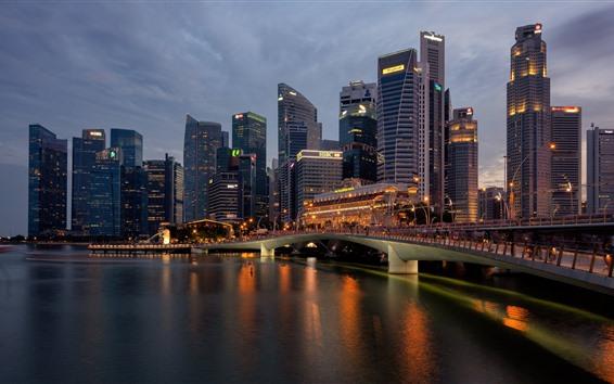 Fondos de pantalla Singapur, ciudad de noche, rascacielos, río, puente, luces.