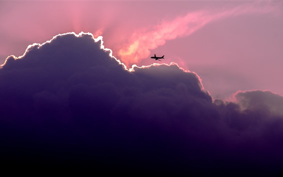 Wallpaper Sky, clouds, plane