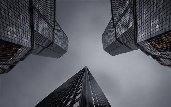 Fondos de pantalla Rascacielos, ciudad, vista inferior, cielo, atardecer