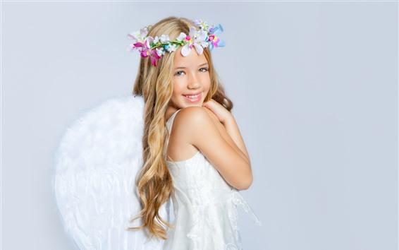 Papéis de Parede Sorria a menina loura do anjo, flores, criança