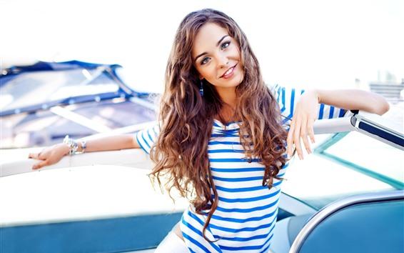 Wallpaper Smile girl, brown hair, yacht