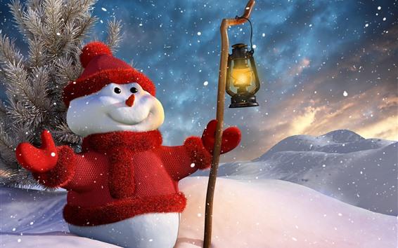 Fond d'écran Bonhomme de neige, chapeau, robe pull, neige, lanterne, hiver