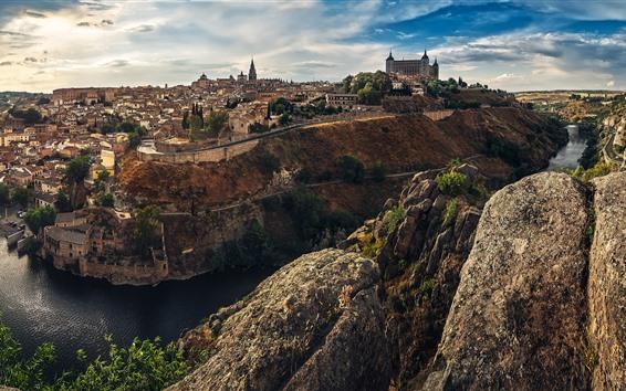 Papéis de Parede Espanha, cidade, casas, Rio, rochas, nuvens