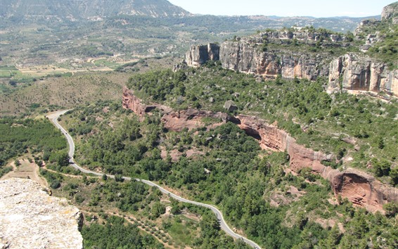 Fondos de pantalla España, montañas, árboles, camino, paisaje de naturaleza.
