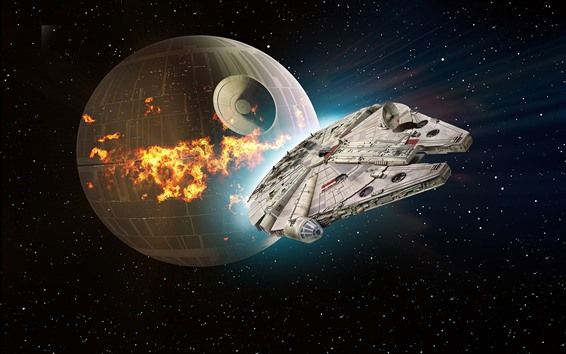 Fondos de pantalla Star Wars, Death Star, nave espacial.