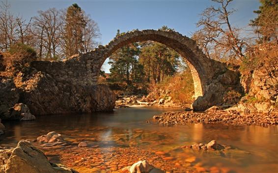 Fondos de pantalla Puente de piedra, arco, rio, arboles.
