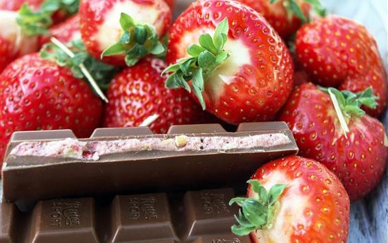 Fondos de pantalla Fresa y chocolate, fruta