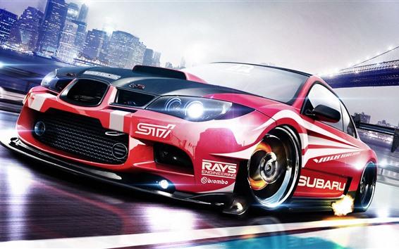 Fondos de pantalla Subaru STI vista frontal del coche rojo