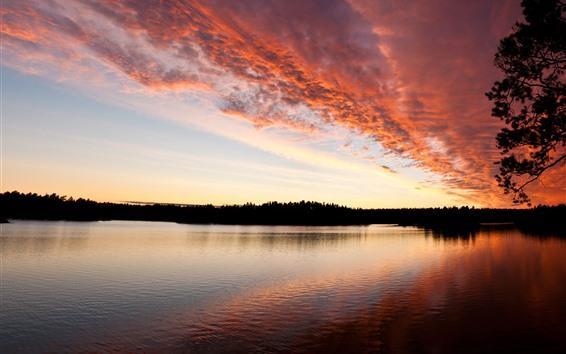 Fondos de pantalla Puesta de sol, nubes, cielo rojo, río