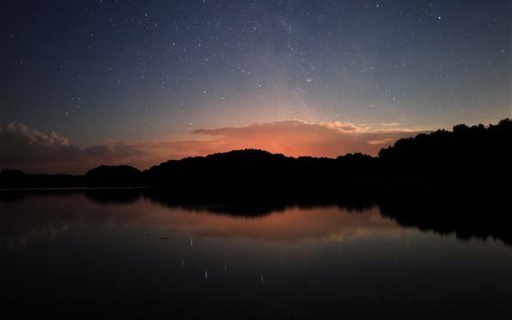 Fondos de pantalla Atardecer, estrellado, lago, reflexión sobre el agua, noche