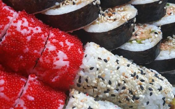 Papéis de Parede Sushi, rolo de arroz, refeição