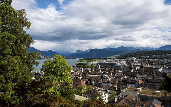 Wallpaper Switzerland, Lucerne, city, houses, river, mountains, clouds, trees