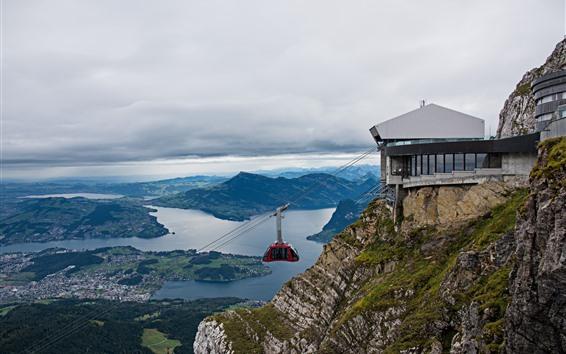 Fondos de pantalla Suiza, Pilatus, vista superior, ciudad, montañas, teleférico