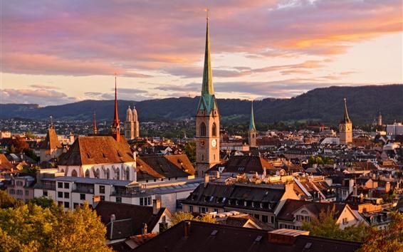 Papéis de Parede Switzerland, Zurique, arquitectura da cidade, casas, montanhas, nuvens, Crepúsculo