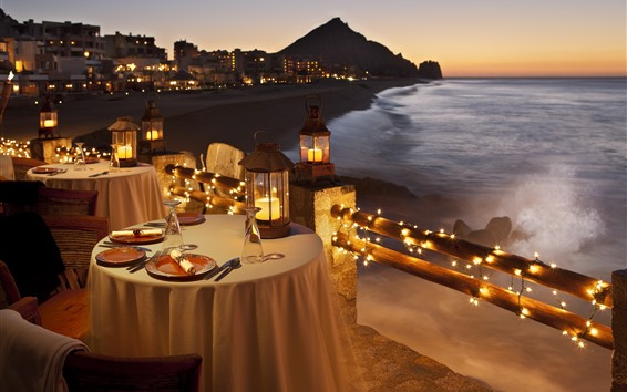 Fondos de pantalla Mesas, velas, cena, Costa, mar, noche