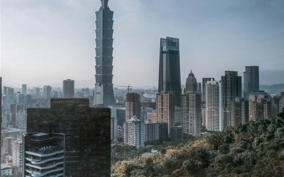 Fondos de pantalla Taipei 101, Taiwán, rascacielos, ciudad
