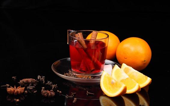 Fondos de pantalla Té, canela, naranjas, fondo negro