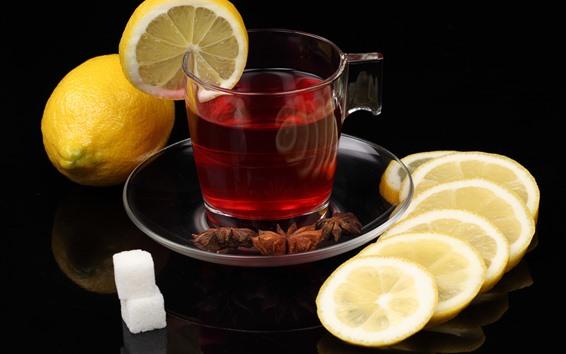 Fondos de pantalla Té, rodaja de limón, canela, azúcar